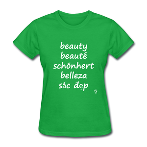 Beauty in Five Languages T-Shirt - bright green
