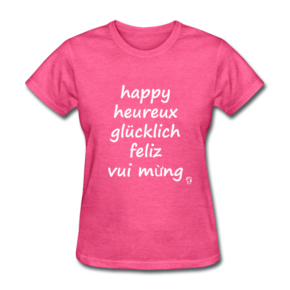 Happy in Five Languages T-Shirt - heather pink
