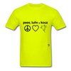 Peace, Love and Cows T-Shirt - safety green