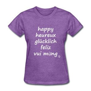 Happy in Five Languages T-Shirt - purple heather