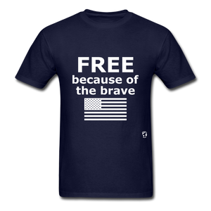 Free Becasue of the Brave T-Shirt - navy