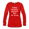 Happy in English, French, German, Spanish, Vietnamese Long Sleeve T-Shirt - red