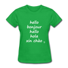 Hello in Five Languages T-Shirt - bright green