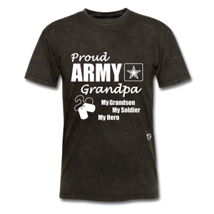 Proud Army Grandpa Red White and Blue T-Shirt - mineral black
