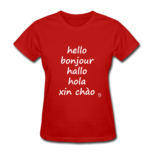 Hello in Five Languages T-Shirt - red