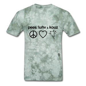 Peace, Love and Cows T-Shirt - military green tie dye
