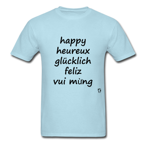 Happy in Five Languages - powder blue