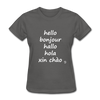 Hello in Five Languages T-Shirt - charcoal