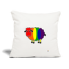 "Rainbow Sheep Throw Pillow Cover 18"" x 18"" - natural white"