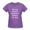 Beauty in Five Languages T-Shirt - purple heather