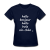 Hello in Five Languages T-Shirt - navy