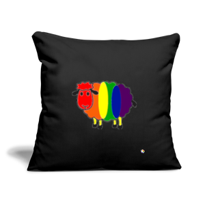 "Rainbow Sheep Throw Pillow Cover 18"" x 18"" - black"