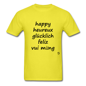 Happy in Five Languages - yellow