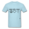 Peace, Love and Cows T-Shirt - powder blue