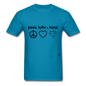 Peace, Love and Cows T-Shirt - turquoise