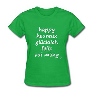 Happy in Five Languages T-Shirt - bright green