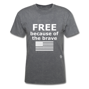 Free Becasue of the Brave T-Shirt - mineral charcoal gray