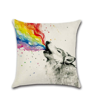 Rainbow Element Print Linen Cushion Cover