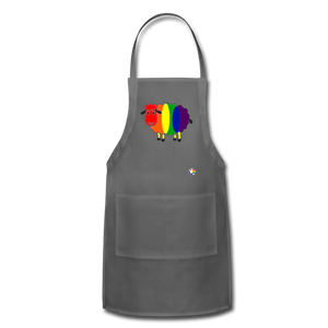 Rainbow Sheep Adjustable Apron - charcoal