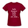 Hello in Five Languages T-Shirt - dark red