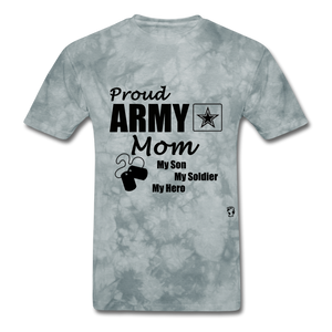 Proud Army Mom Red White and Blue T-Shirt - grey tie dye