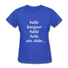 Hello in Five Languages T-Shirt - royal blue