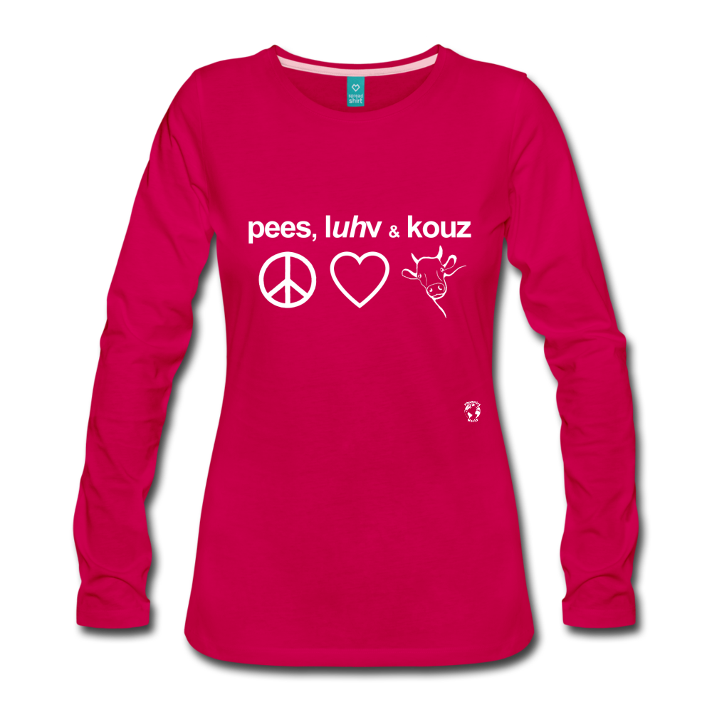 Peace, Love and Cows Long Sleeve T-Shirt - dark pink
