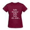 Hello in Five Languages T-Shirt - burgundy
