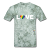 Love T-Shirt - military green tie dye