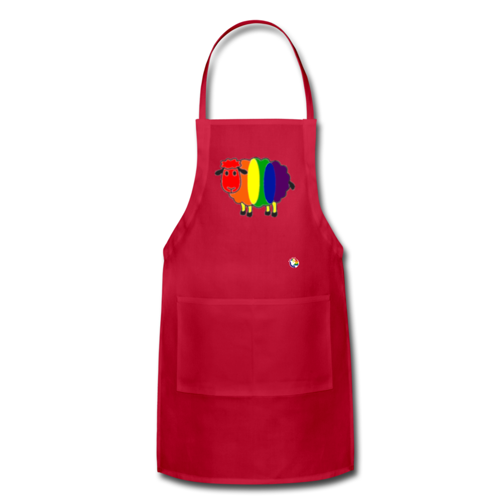 Rainbow Sheep Adjustable Apron - red