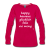 Happy in English, French, German, Spanish, Vietnamese Long Sleeve T-Shirt - dark pink