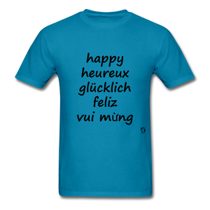 Happy in Five Languages - turquoise