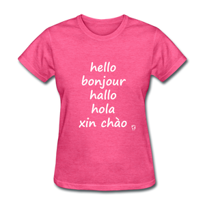 Hello in Five Languages T-Shirt - heather pink