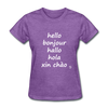 Hello in Five Languages T-Shirt - purple heather
