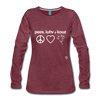 Peace, Love and Cows Long Sleeve T-Shirt - heather burgundy