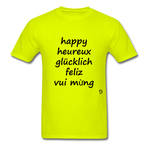 Happy in Five Languages - safety green