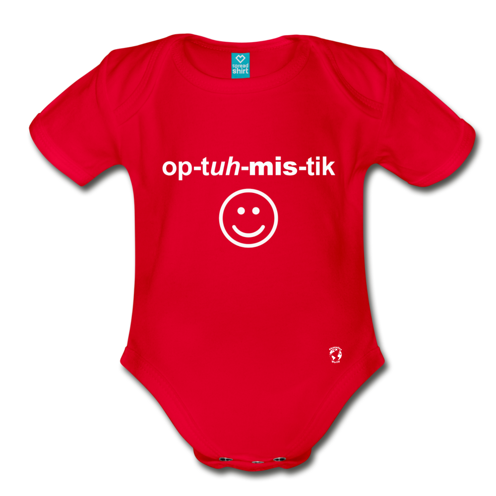 Optimistic Organic Short Sleeve Baby Bodysuit - red