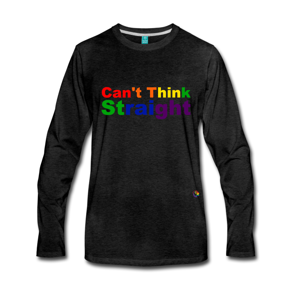 Can't Think Straight Long Sleeve T-Shirt - charcoal gray