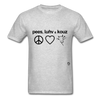 Peace, Love and Cows T-Shirt - heather gray