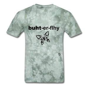 Butterfly T-shirt - military green tie dye