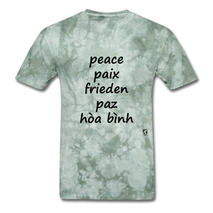 Peace in Five Languages - military green tie dye