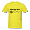 Peace, Love and Cows T-Shirt - yellow