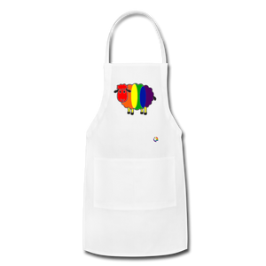 Rainbow Sheep Adjustable Apron - white
