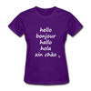 Hello in Five Languages T-Shirt - purple