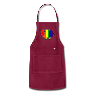 Rainbow Sheep Adjustable Apron - burgundy