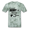 Proud Army Mom Red White and Blue T-Shirt - military green tie dye