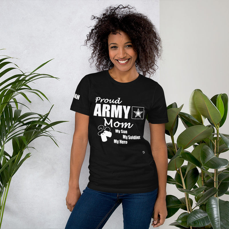 Proud Army Mom, Son, Red, White and Blue with Hooah T-Shirt