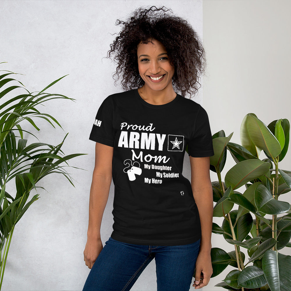 Proud Army Mom, Daughter, Red, White and Blue with Hooah T-Shirt