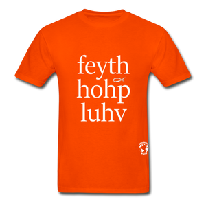 Faith, Hope, Love Hanes Adult Tagless T-Shirt - orange
