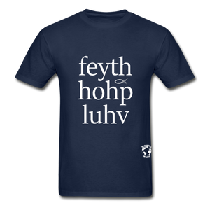Faith, Hope, Love Hanes Adult Tagless T-Shirt - navy